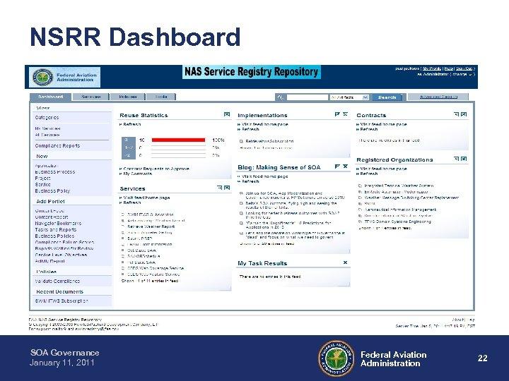 NSRR Dashboard SOA Governance January 11, 2011 Federal Aviation Administration 22