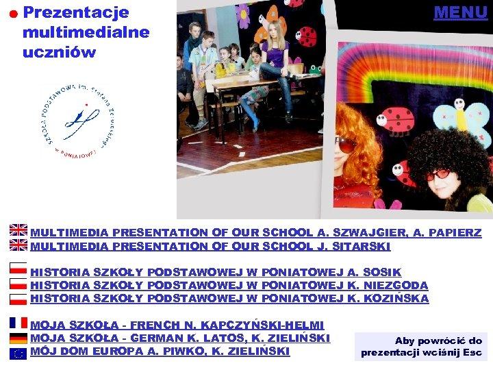 Prezentacje multimedialne uczniów MENU MULTIMEDIA PRESENTATION OF OUR SCHOOL A. SZWAJGIER, A. PAPIERZ MULTIMEDIA