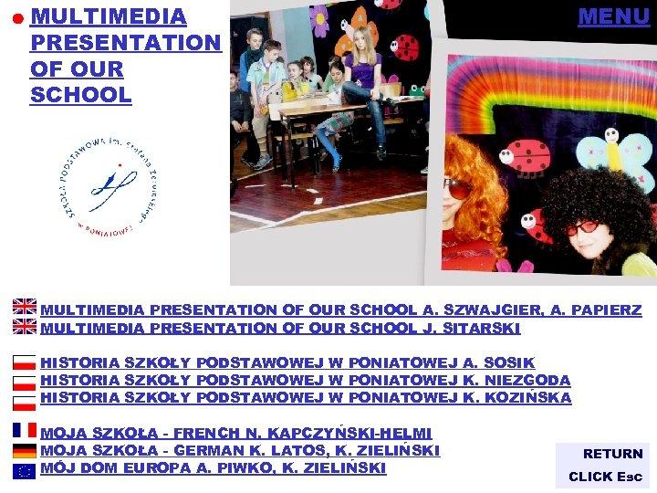 MULTIMEDIA PRESENTATION OF OUR SCHOOL MENU MULTIMEDIA PRESENTATION OF OUR SCHOOL A. SZWAJGIER, A.