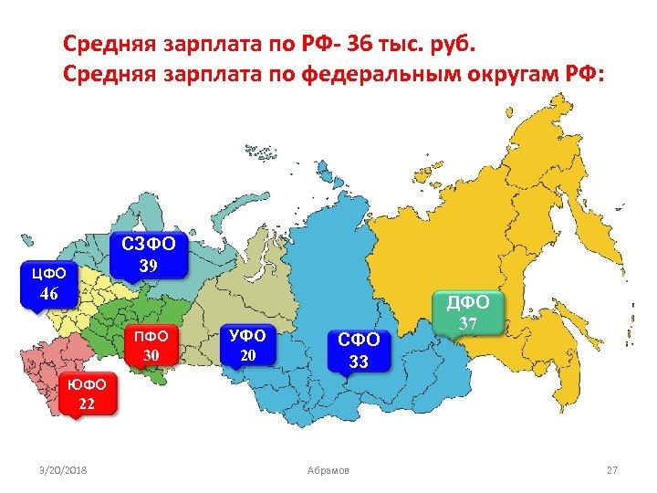 Средняя зарплата по РФ- 36 тыс. руб. Средняя зарплата по федеральным округам РФ: СЗФО