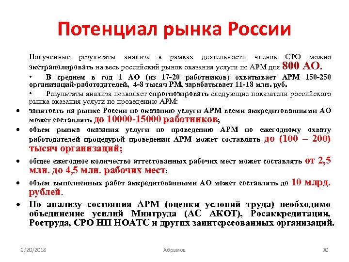 Потенциал рынка России Полученные результаты анализа в рамках деятельности членов СРО можно экстраполировать на