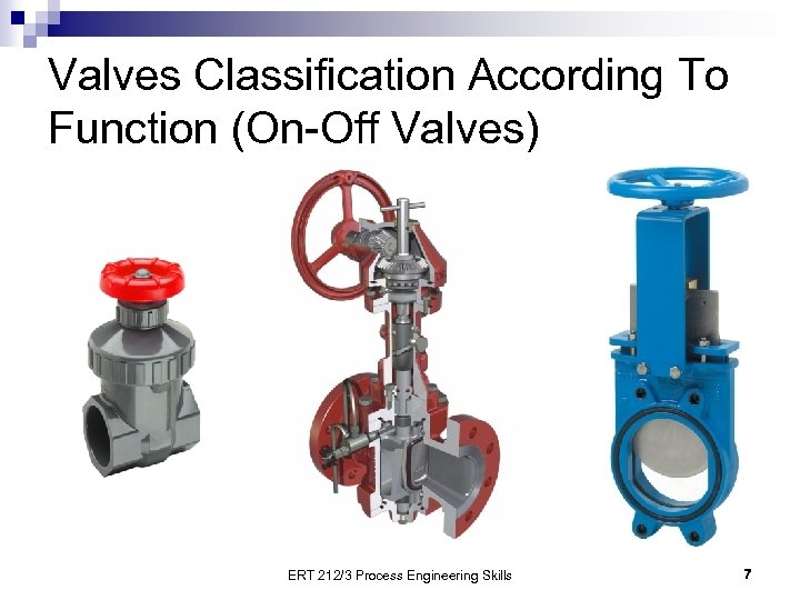 Valves Classification According To Function (On-Off Valves) ERT 212/3 Process Engineering Skills 7