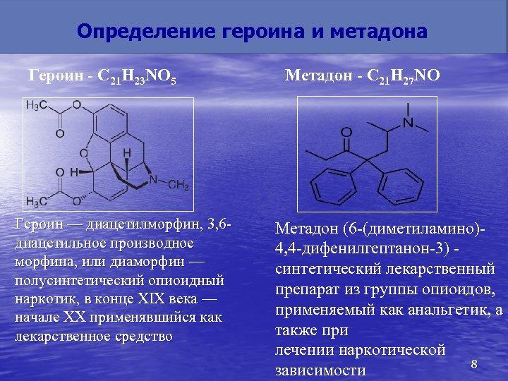 Определение героина и метадона Героин - C 21 H 23 NO 5 Героин —
