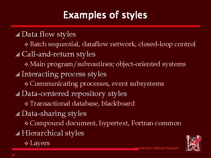 Examples of styles p Data flow styles v Batch p Call-and-return styles v Main