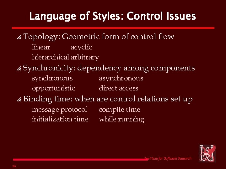 Language of Styles: Control Issues p Topology: Geometric form of control flow linear acyclic