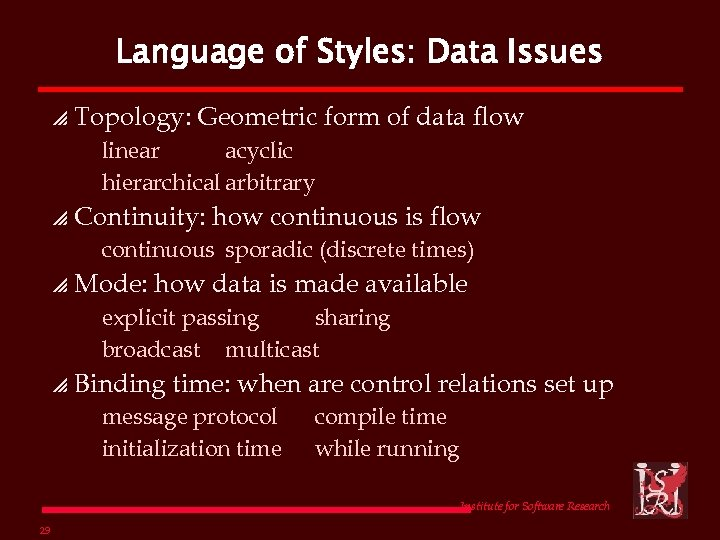 Language of Styles: Data Issues p Topology: Geometric form of data flow linear acyclic