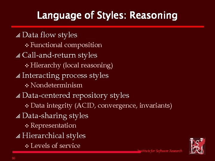 Language of Styles: Reasoning p Data flow styles v Functional p Call-and-return styles v