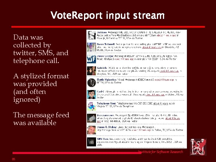 Vote. Report input stream Data was collected by twitter, SMS, and telephone call. A