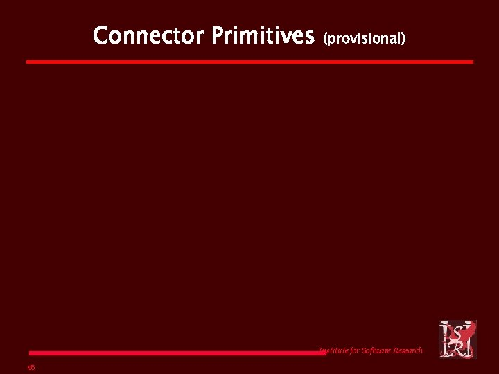 Connector Primitives (provisional) Institute for Software Research 45