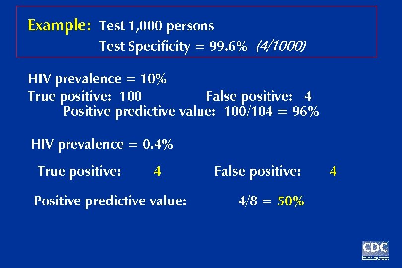 Example: Test 1, 000 persons Test Specificity = 99. 6% (4/1000) HIV prevalence =