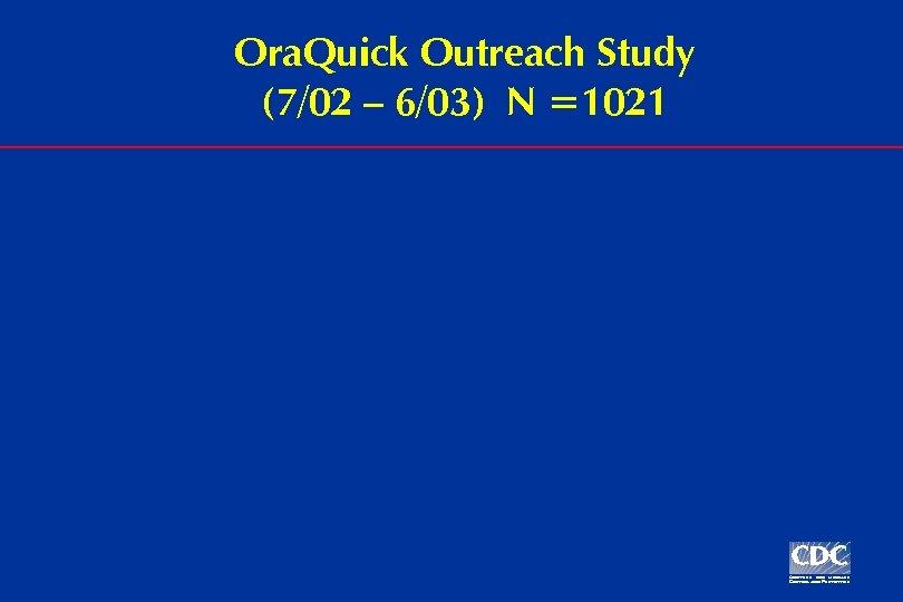 Ora. Quick Outreach Study (7/02 – 6/03) N =1021