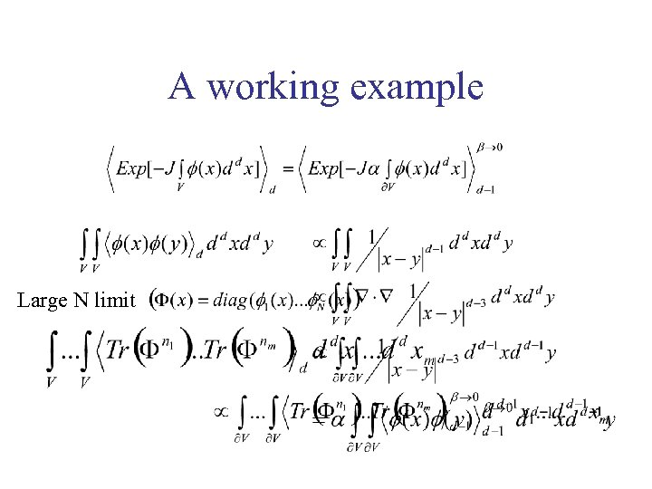 A working example Large N limit