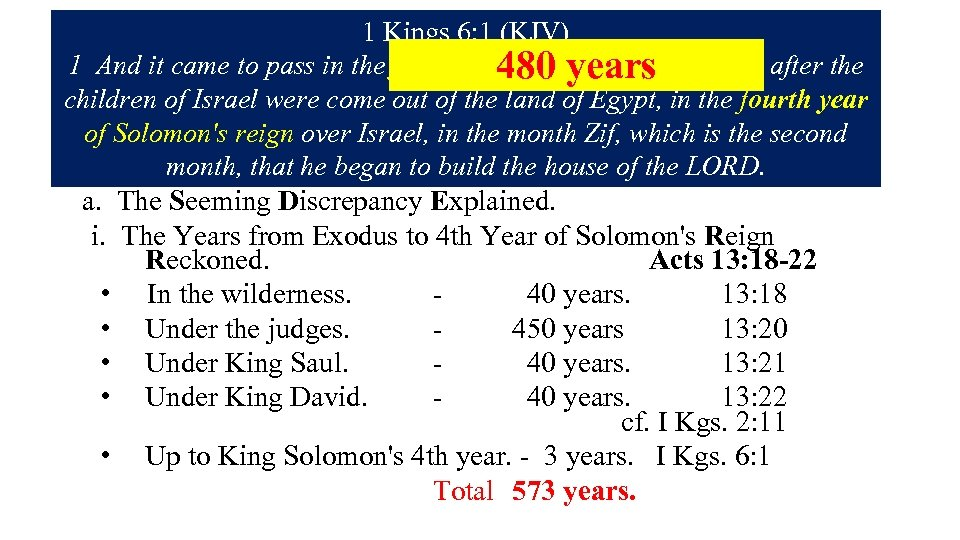1. The Lost Years in the Wilderness Wanderings. 1 Kings 6: 1 (KJV) 2.