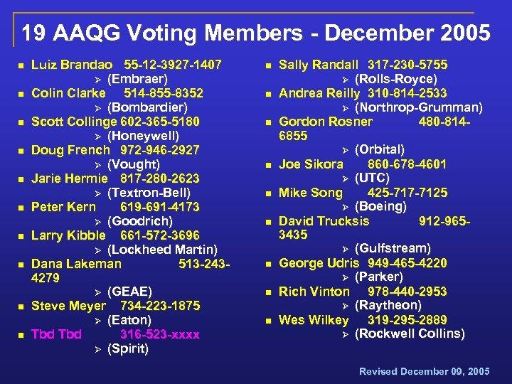 19 AAQG Voting Members - December 2005 n n n n n Luiz Brandao