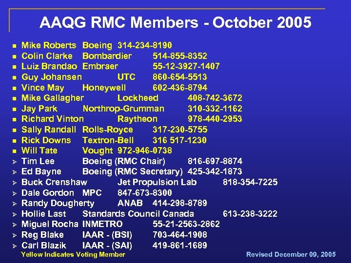 AAQG RMC Members - October 2005 n n n Ø Ø Ø Ø Ø