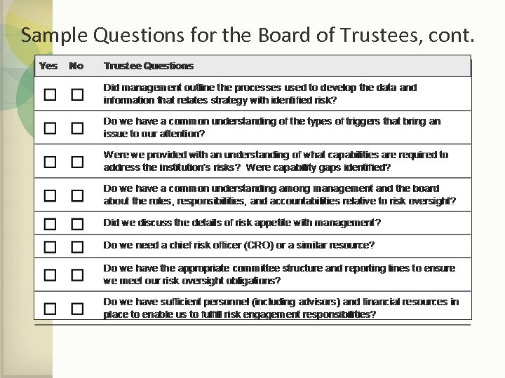 Sample Questions for the Board of Trustees, cont.