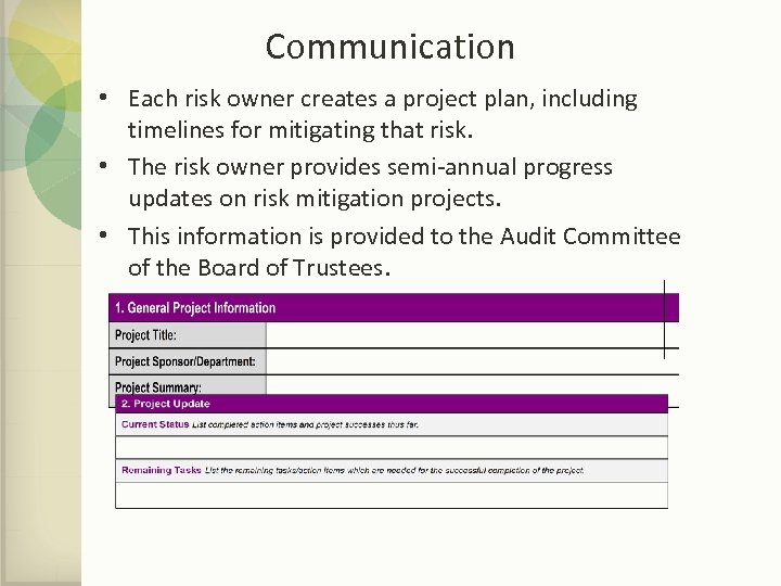 Communication • Each risk owner creates a project plan, including timelines for mitigating that