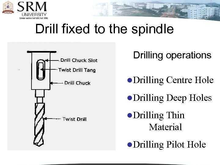 Drill fixed to the spindle Drilling operations l. Drilling Centre Hole l. Drilling Deep