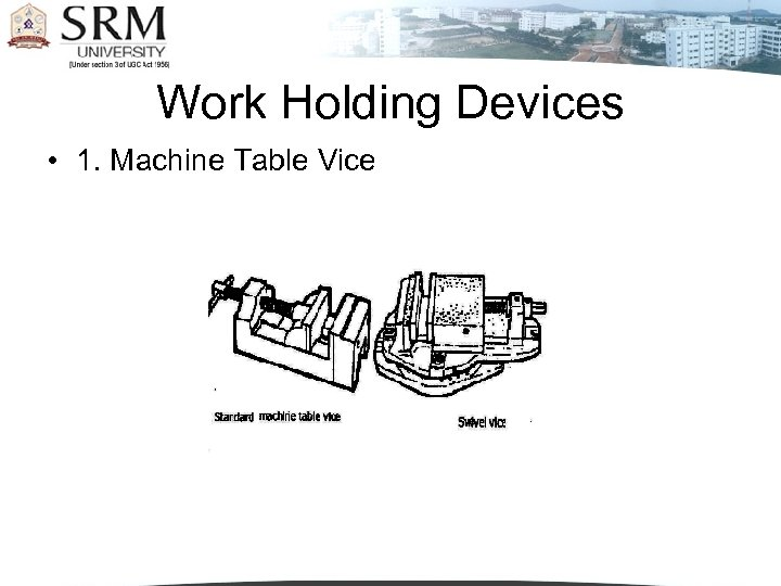 Work Holding Devices • 1. Machine Table Vice