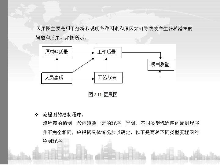 因果图主要是用于分析和说明各种因素和原因如何导致或产生各种潜在的 问题和后果。如图所示: v 流程图的绘制程序: 流程图的编制一般应遵循一定的程序,当然,不同类型流程图的编制程序 并不完全相同,应根据具体情况加以确定,以下是两种不同类型流程图的 绘制程序: