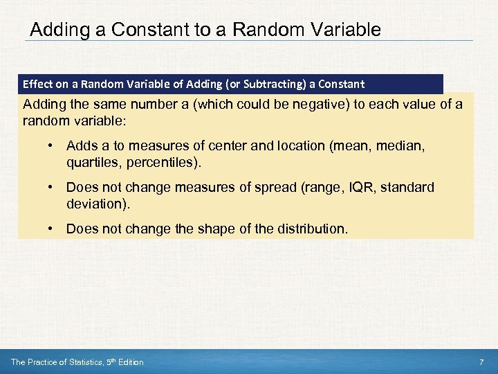 Adding a Constant to a Random Variable Effect on a Random Variable of Adding