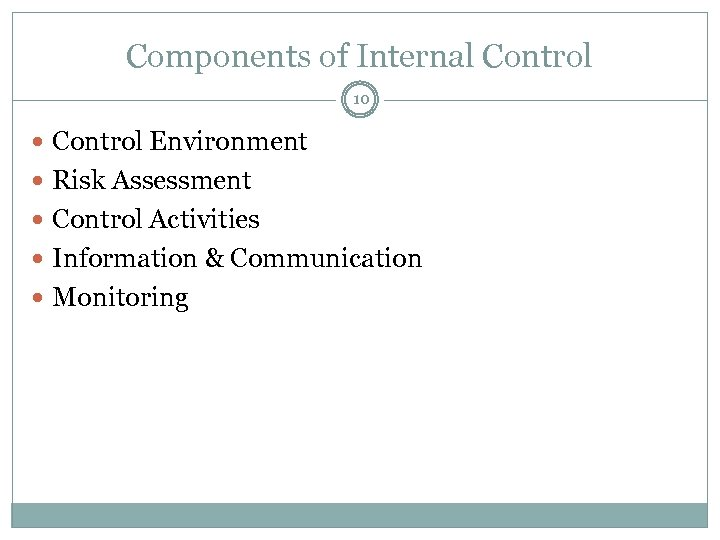 Components of Internal Control 10 Control Environment Risk Assessment Control Activities Information & Communication