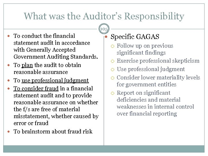 What was the Auditor's Responsibility 105 To conduct the financial Specific GAGAS statement audit