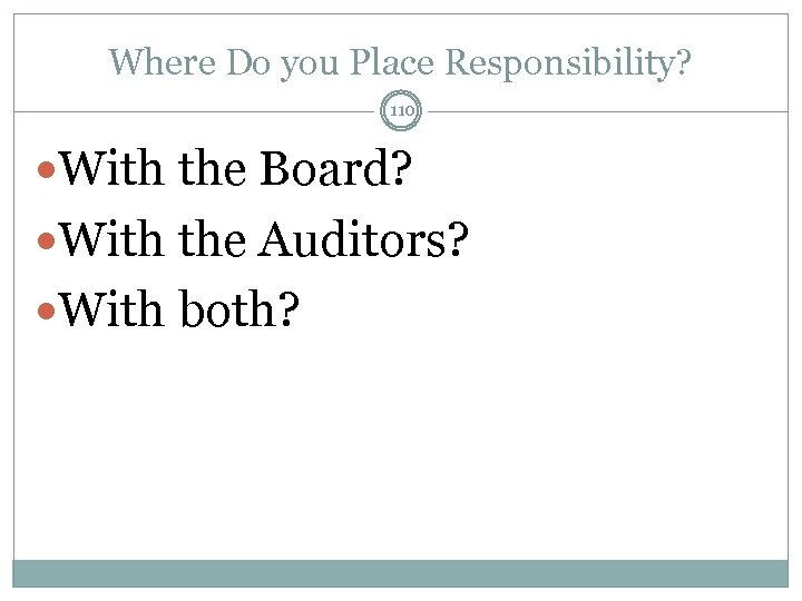 Where Do you Place Responsibility? 110 With the Board? With the Auditors? With both?