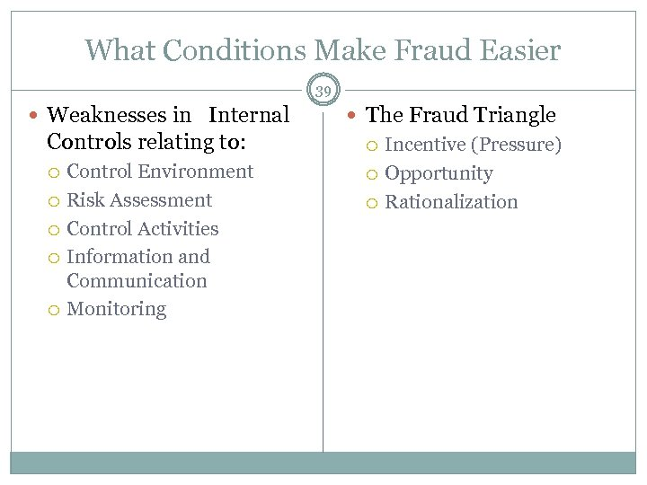 What Conditions Make Fraud Easier 39 Weaknesses in Internal Controls relating to: Control Environment