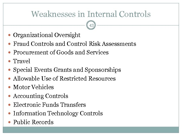 Weaknesses in Internal Controls 43 Organizational Oversight Fraud Controls and Control Risk Assessments Procurement