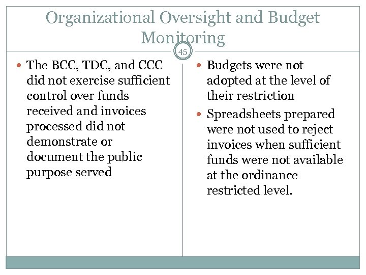 Organizational Oversight and Budget Monitoring 45 The BCC, TDC, and CCC did not exercise
