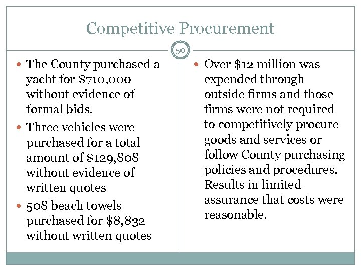 Competitive Procurement 50 The County purchased a yacht for $710, 000 without evidence of