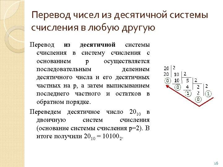 Перевод чисел из десятичной системы счисления в любую другую Перевод из десятичной системы счисления