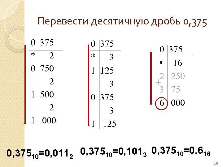Перевести десятичную дробь 0, 375 0 375 * 2 0 750 2 1 500