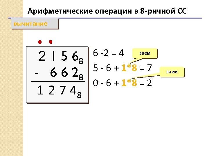 Арифметические операции в 8 -ричной СС вычитание 6 -2 = 4 заем 68 5