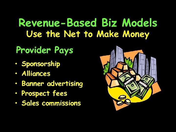Revenue-Based Biz Models Use the Net to Make Money Provider Pays • • •