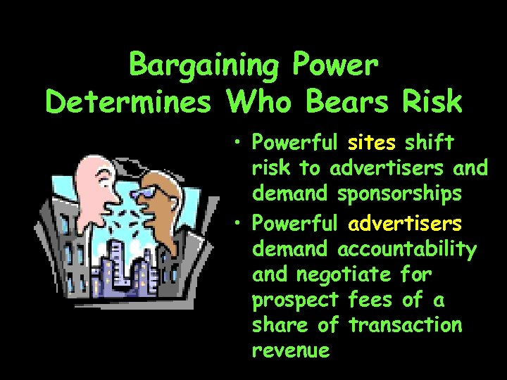 Bargaining Power Determines Who Bears Risk • Powerful sites shift risk to advertisers and