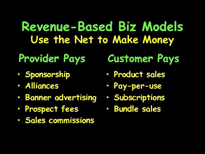 Revenue-Based Biz Models Use the Net to Make Money Provider Pays Customer Pays •