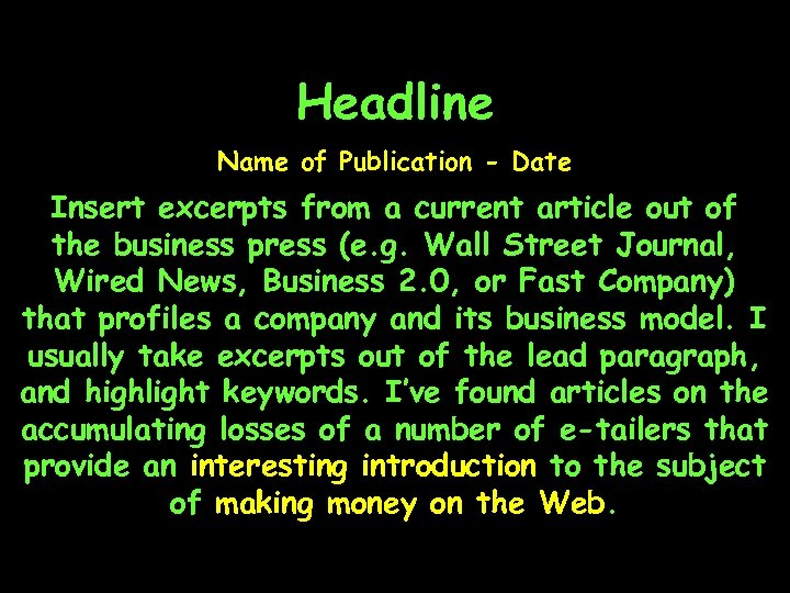 Headline Name of Publication - Date Insert excerpts from a current article out of