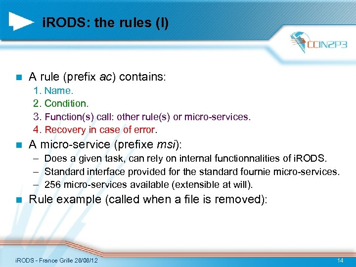 i. RODS: the rules (I) n A rule (prefix ac) contains: 1. Name. 2.