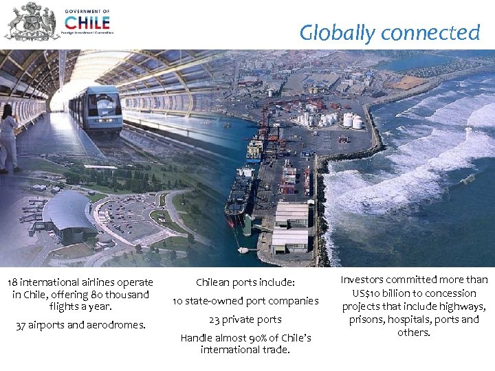 Globally connected 18 international airlines operate in Chile, offering 80 thousand flights a year.