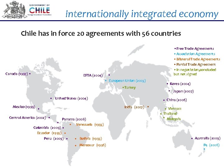 Internationally integrated economy Chile has in force 20 agreements with 56 countries Canada (1997)