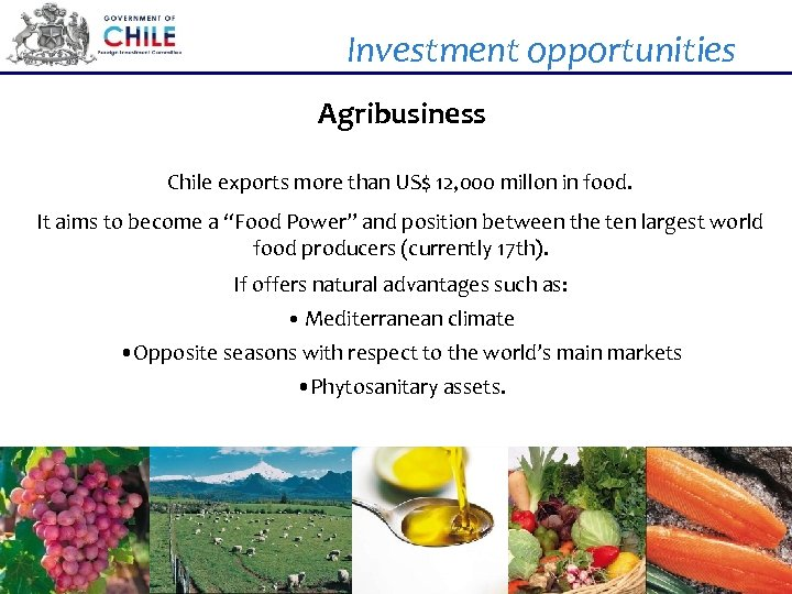 Investment opportunities Agribusiness Chile exports more than US$ 12, 000 millon in food. It