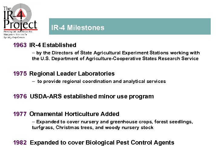 IR 4 Milestones 1963 IR 4 Established – by the Directors of State Agricultural