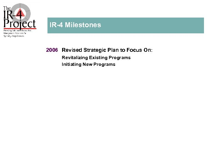 IR 4 Milestones 2006 Revised Strategic Plan to Focus On: Revitalizing Existing Programs Initiating