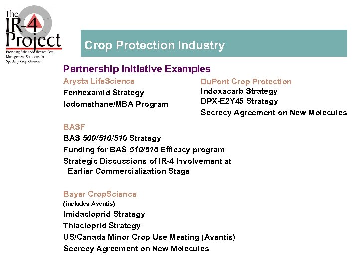 Crop Protection Industry Partnership Initiative Examples Arysta Life. Science Fenhexamid Strategy lodomethane/MBA Program Du.