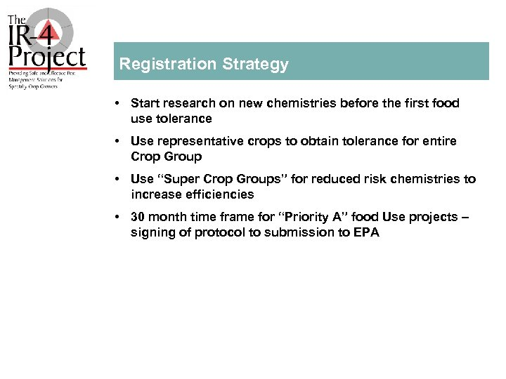 Registration Strategy • Start research on new chemistries before the first food use tolerance