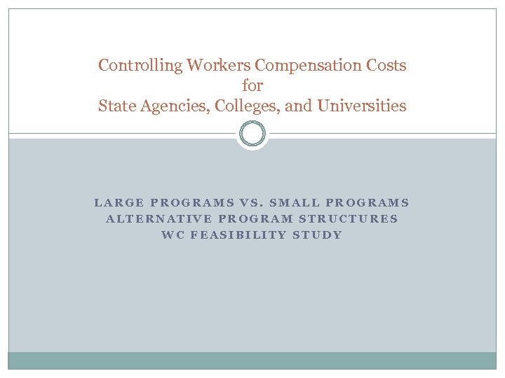 Controlling Workers Compensation Costs for State Agencies, Colleges, and Universities LARGE PROGRAMS VS. SMALL