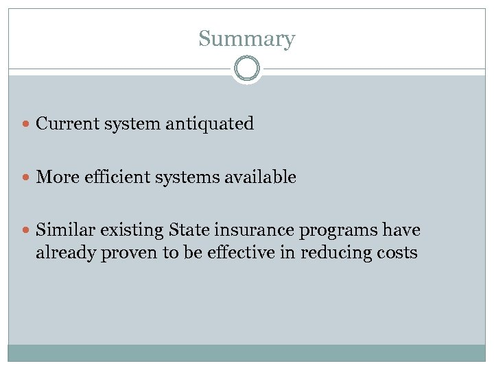 Summary Current system antiquated More efficient systems available Similar existing State insurance programs have