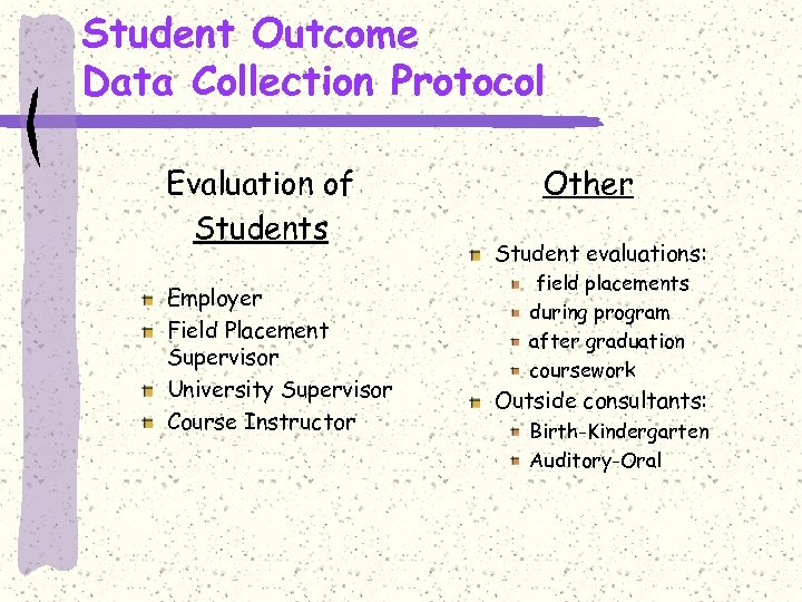 Student Outcome Data Collection Protocol Evaluation of Students Employer Field Placement Supervisor University Supervisor
